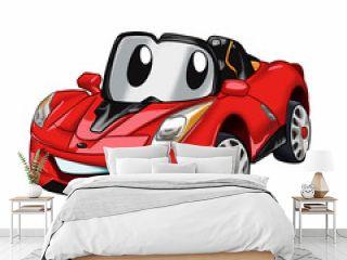 Fast car cartoon - red car cartoon - cars for kids Vector Illustration