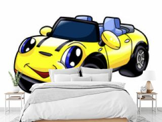Yelow car - car cartoon - cars toys Vector Illustration