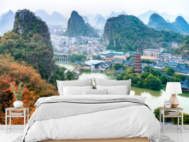 Guangxi, China, Guilin, Diecai mountain, mulong lake,panorama autumn scenery