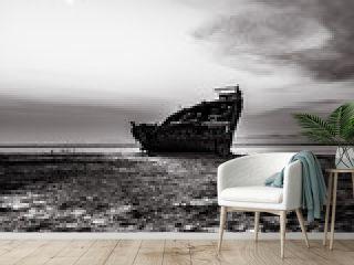 Black and white, Motueka Ship Wrecked. The famous ship in tasman coast area.