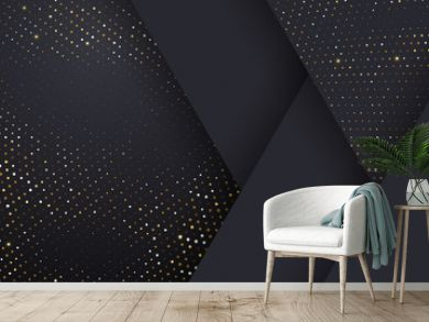 Gold and silver halftone pattern on geometric black background. Vector golden glitter dotted sparkles or halftone shine texture