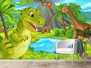 cartoon scene with happy dinosaur tyrannosaurus rex near erupting volcano and diplodocus - illustration for children