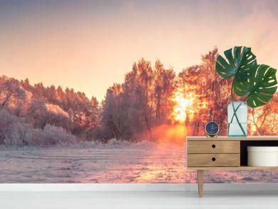 Panorama of winter nature landscape at sunrise. Christmas background