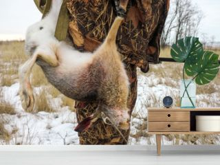 The hunter shot the hare. Winter hunt for a prince.