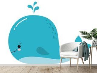 Cute amusing blue whale, prints image, vector illustration