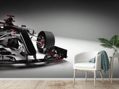 Modern F1 car on light background.