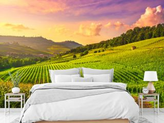 Langhe vineyards view, Barolo and La Morra, Piedmont, Italy Europe.