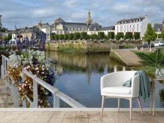 River Laila and abbey Sainte Croix at Quimperlé, a commune in the Finistère department of Brittany in northwestern France.