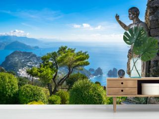 Beautiful view of Capri island from Mount Solaro - Capri, Italy