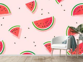 Watermelon slices vector pattern.