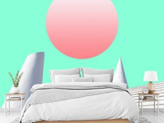 surreal landscape collage concept, contemporary and futuristic palstel colors, social network mood