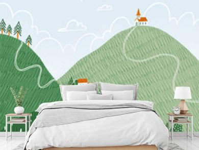 Tiny houses on hills, illustrated landscape