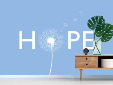 hope typography with dandelion on blue background vector illustration EPS10