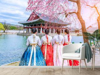 Cherry Blossom with Korean national dress at Gyeongbokgung Palace Seoul,South Korea