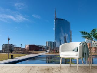 02/11/2019 Milan, Italy: skyline of Milan, view of the new city park, the tree library