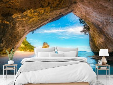 view from the cave at cathedral cove,coromandel,new zealand 39