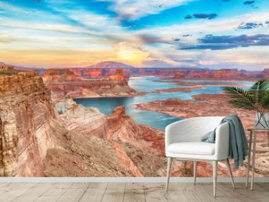 Scenic view of lake powell at sunset, Alstrom Point, Arizona, USA