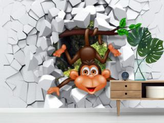 3d background, little monkey peeping from a broken wall.3D wall looks very lovely and also brings different colors to room! It will visually expand children's room and become an accent in the interior