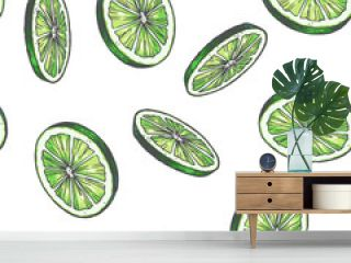Vector vintage seamless pattern with lime isolated on white. Hand drawn color texture with green slices of citrus. Fruit rounds sketch.