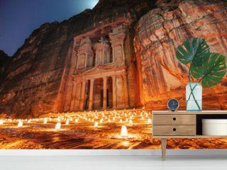 Petra by night, Treasury ancient architecture in canyon, Petra in Jordan. 7 wonders travel destination in Jordan