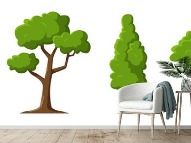 Cartoon trees set isolated on a white background. Simple modern style. Cute green plants, forest. Can be used to illustrate any nature or healthy lifestyle topic. Flat style vector illustration.