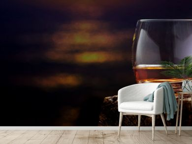 Whisky, whisky glass on the wooden table , banner