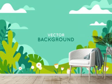 Vector illustration in trendy flat simple style - spring and summer background with copy space for text - landscape