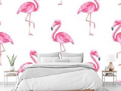 Tropical bird. Pink flamingo. Watercolor seamless pattern