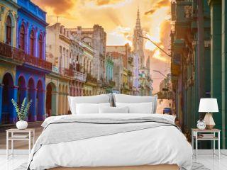 Street scene with sunset in downtown Havana
