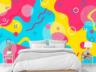 Color background. Memphis abstract pattern of geometric shapes. Geometric elements