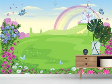 Fairytale background with flower meadow. Wonderland. Cartoon, children's illustration. Princess's castle and rainbow. Fabulous landscape. Beautiful Park or garden with roses and butterflies. Vector.