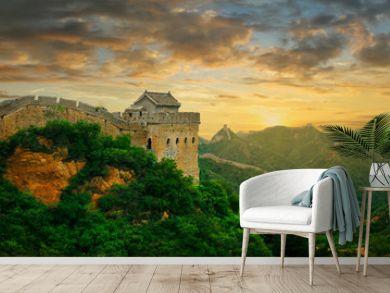 Sunset on the great wall of China,Jinshanling