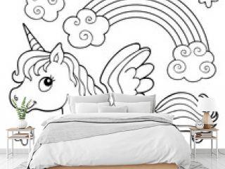 Coloring book stylized unicorn theme 2