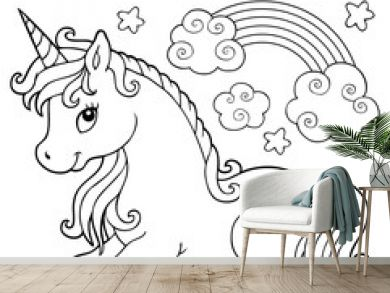 Coloring book stylized unicorn theme 1
