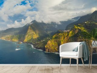 Beautiful mountain landscape of Seixal, Madeira island, Portugal, at sunset. Aerial panorama view.