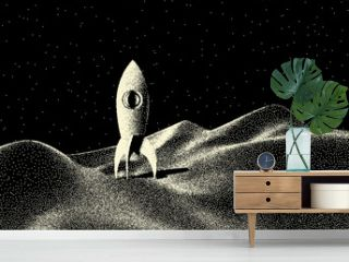 Space landscape with scenic view on planet, rocket and stars made with retro styled dotwork