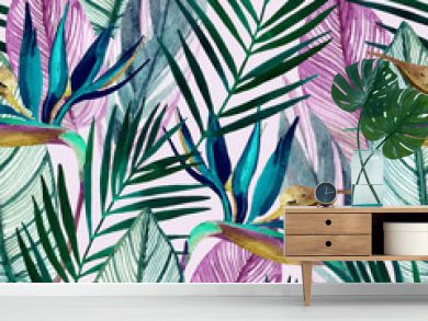 Watercolor tropical seamless pattern with bird-of-paradise flower, palm leaves
