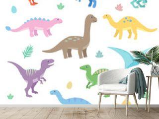Cute dinosaurs set. Funny cartoon dinosaur. Isolated vector illustration