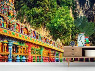 Colorful stairs of Batu caves, Malaysia. Panorama
