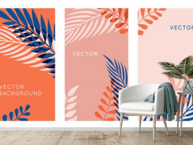 Vector set of abstract backgrounds with copy space for text, leaves and plants - bright vibrant banners in red and blue colors, posters, packaging cover design templates, social media stories wallpape