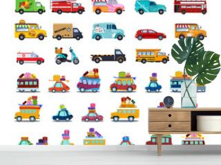 Cute City Transport Set, Colorful Childish Cars and Vehicles Vector Illustration