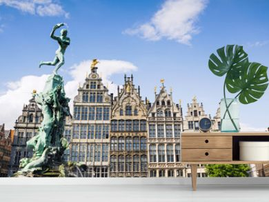 Brabo monument at the Grote markt square in Antwerp, Belgium. Beautiful old town of Antwerpen. Popular travel destination and tourist attraction