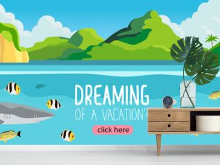 A beautiful tropic landscape with a lagoon and underwater view on a sea life. Creative banner, flyer, card or landing page for a travel agency or tour operator. Summer theme background or wallpaper.
