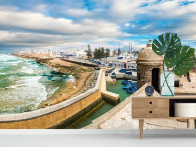 Landscape with old fortress and fishing port of Essaouira, Morocco