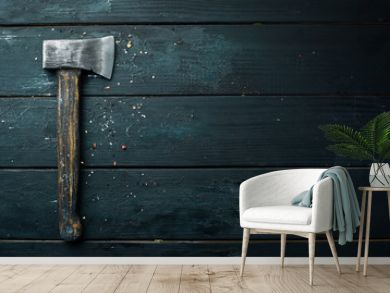 Ax on a black background. Free space for your text. Rustic style.