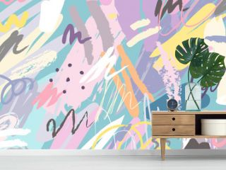Abstract collage background hand drawn colorful. Beautiful art painting colored with hand drawing element for fabric print, wrapping paper, printable art, wallpaper, banner and poster background.