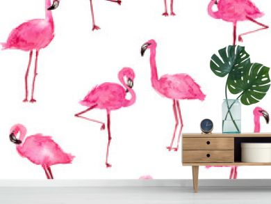 watercolor pink flamingos. hand drawn seamless pattern on a white background