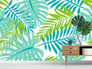 Seamless pattern with green tropical leaves on white background. Vector design. Jungle print. Floral background.