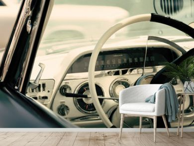 Interior of a classic American car, old vintage vehicle