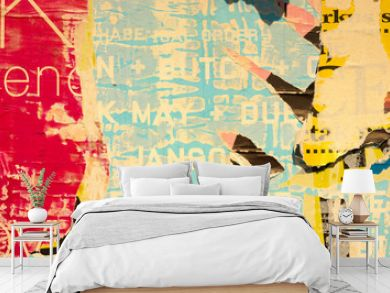 Old grunge ripped torn vintage collage colorful street posters creased crumpled paper surface placard texture background backdrop